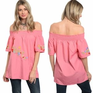 Tops - S M L Pink Off The Shoulder Top Floral Top NWT